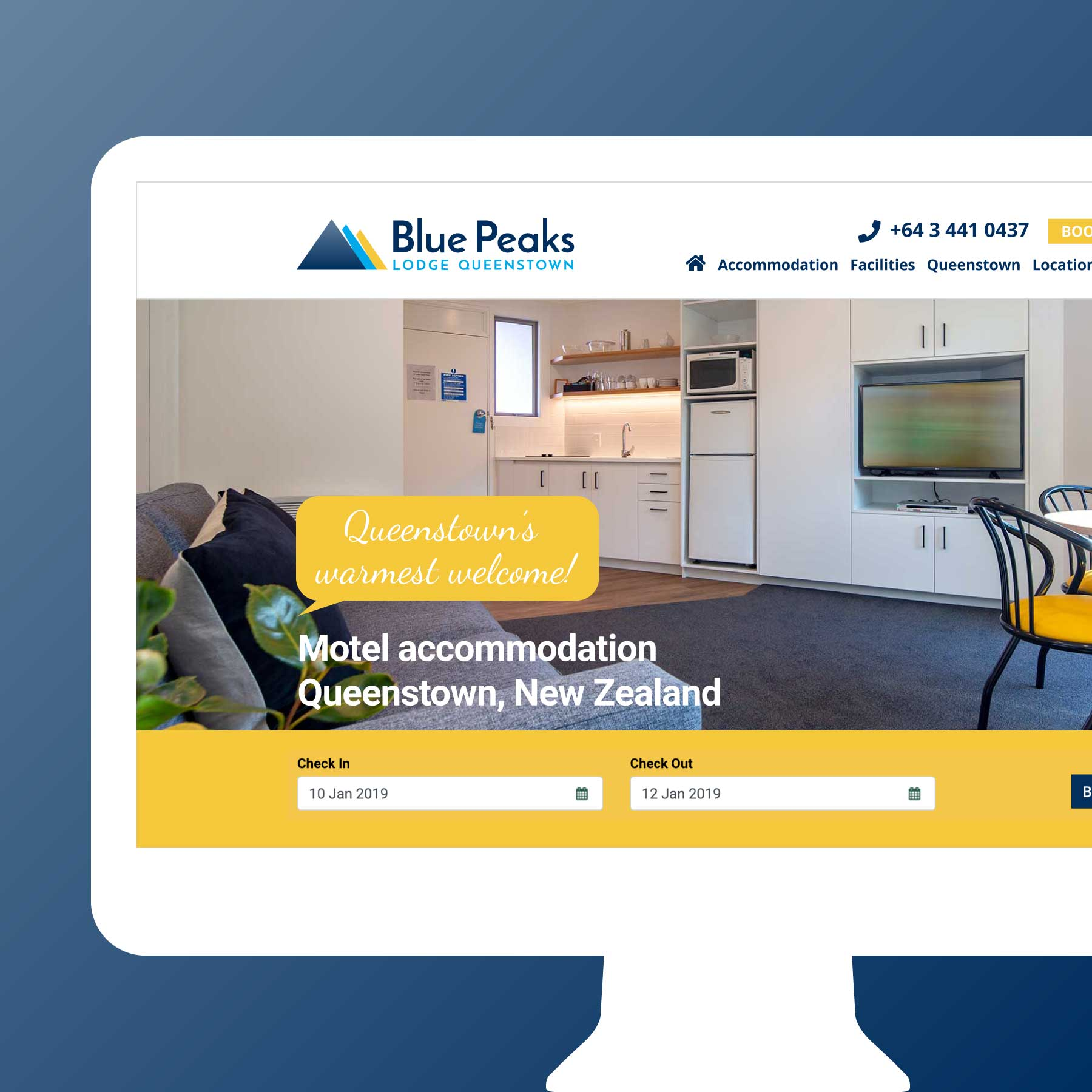 Blue Peaks Lodge & Apartments Web Design Auckland