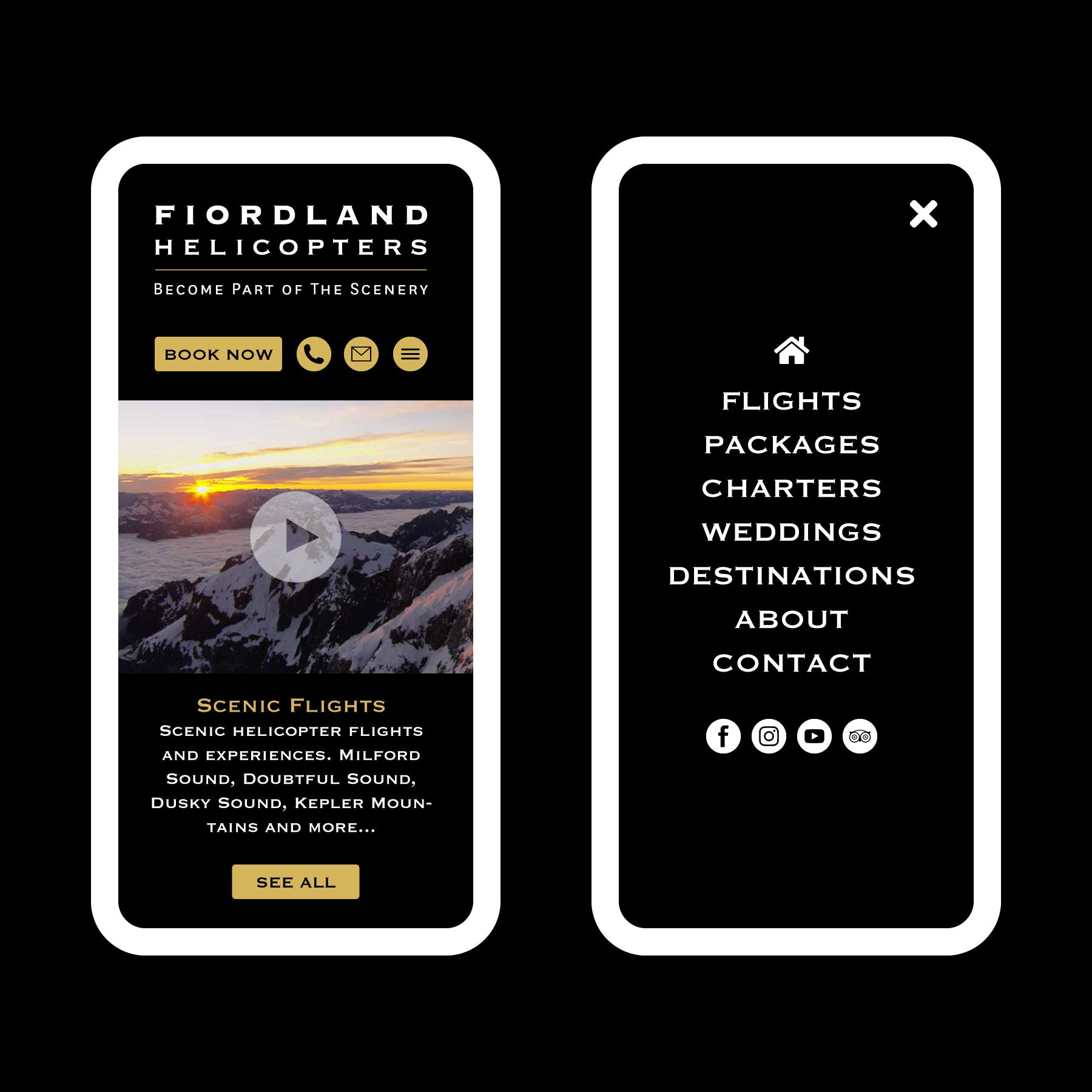Fiordland Helicopters Scenic Flights Web Design Auckland