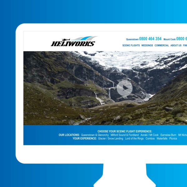 Heliworks Helicopters Scenic Flights Web Design Auckland