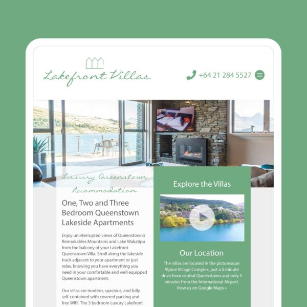 Lakefront Villas Luxury Accommodation Web Design Auckland