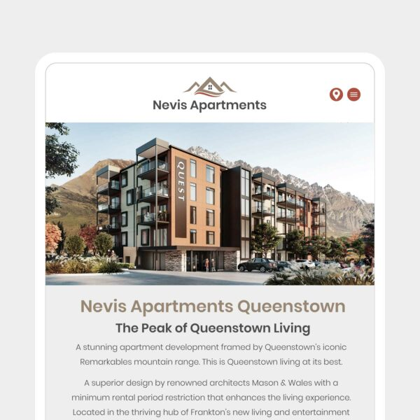 Nevis Apartments Accommodation Web Design Auckland