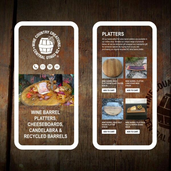 Wine Country Creations Wine Barrel Platters Web Design Auckland